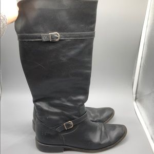 Frye black leather knee high riding boots